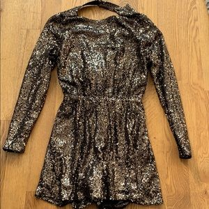 Gold Romper with Open Back